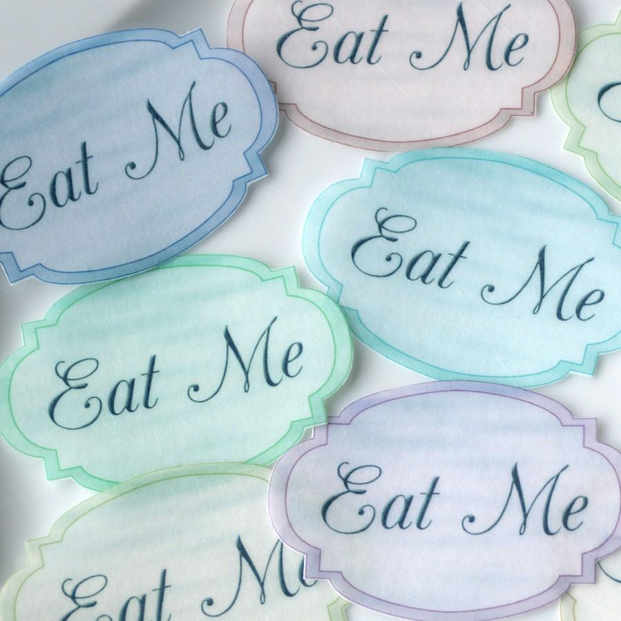 Mariage - EAT ME Edible Alice in Wonderland Pastel Labels x18 M Wafer Rice Paper Wedding Cake Decorations Mad Hatter Tea Party Cupcake Toppers Cookies