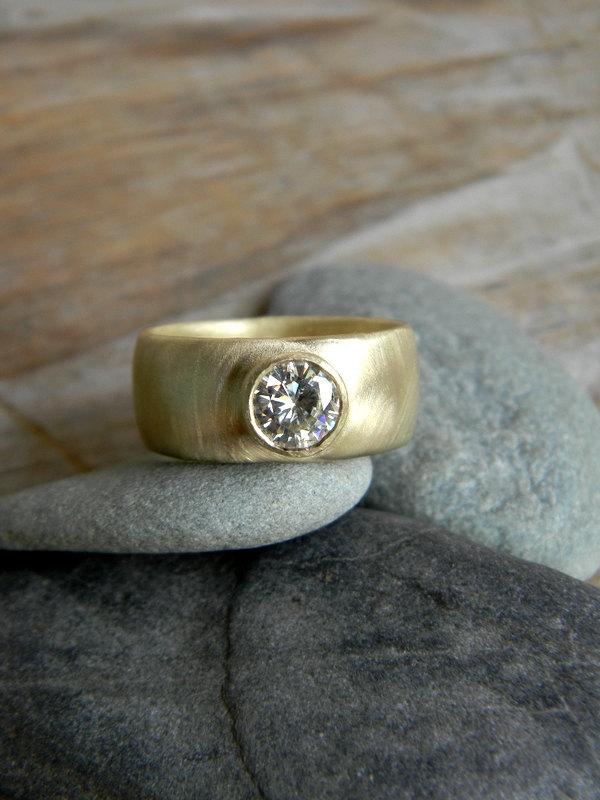 Chunky Gold Engagement Ring Round Moissanite Wide Band Ring Thick