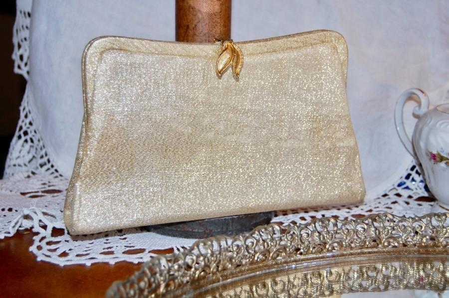 Mariage - Vintage 1950 Evening Bag - Gold Threaded Purse - Bridal Wedding Prom Cocktail Clutch