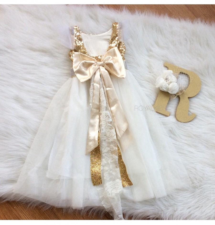 91ad9aa3ca Gold Flower Girl Dress