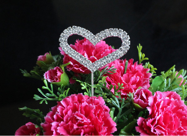 Свадьба - 1 Cake Topper Two ROWS Heart Diamante Rhinestone Crystal Letter Cake Toppers For Wedding Party Decoration