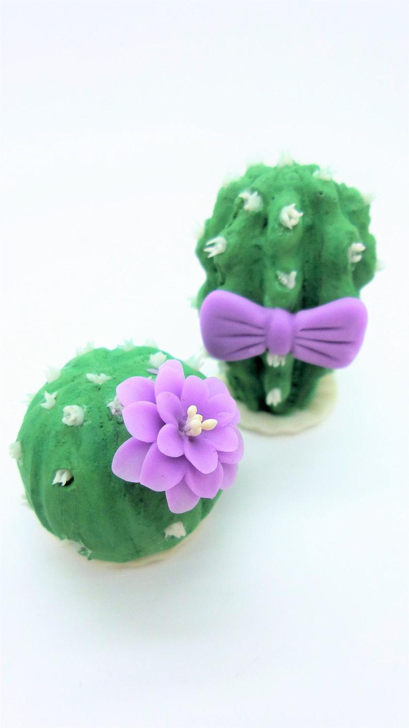 Mariage - Wedding Cake Topper, Miniature Polymer Clay Flowers Handmade Supply Cactus, set of 2 pieces