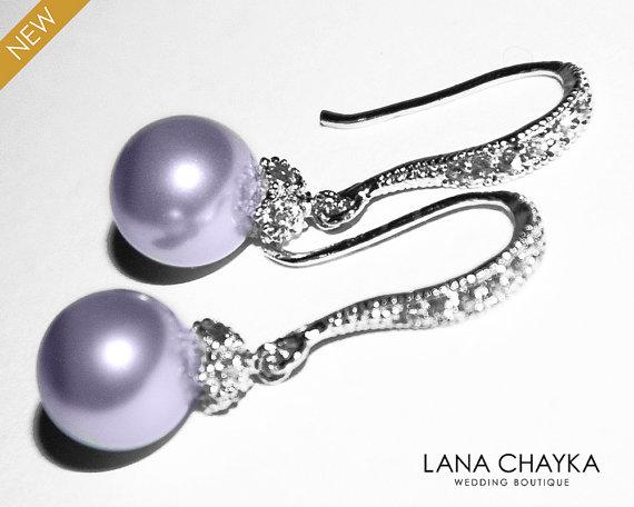 Wedding - Lavender Pearl Drop Earrings Light Violet Pearl Small Earrings Swarovski 8mm Pearl Sterling Silver CZ Wedding Earrings Lavender Jewelry