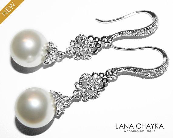 Wedding - Bridal Pearl Chandelier Earrings Swarovski 10mm White Pearl Earrings Pearl Drop Bridal Earrings Wedding Pearl Jewelry Bridesmaid Jewlery