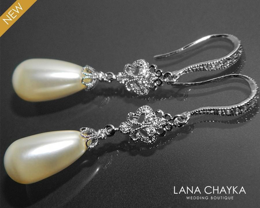 Свадьба - Bridal Pearl Chandelier Earrings Swarovski Ivory Teardrop Pearl CZ Earrings Wedding Pearl Silver Earrings Bridal Bridesmaids Pearl Jewelry