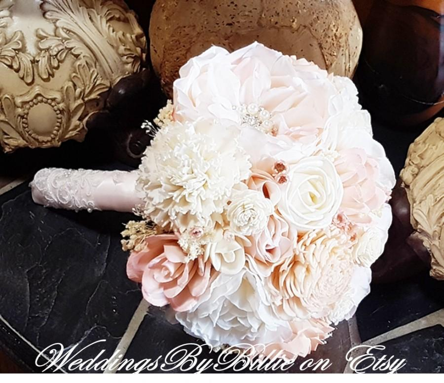 Mariage - Blush Pink Ivory Sola Bouquet, Blush Wedding, Pale Pink Wedding, Alternative Bouquet, Rustic Shabby Chic, Bridal Accessories, Sola Flowers