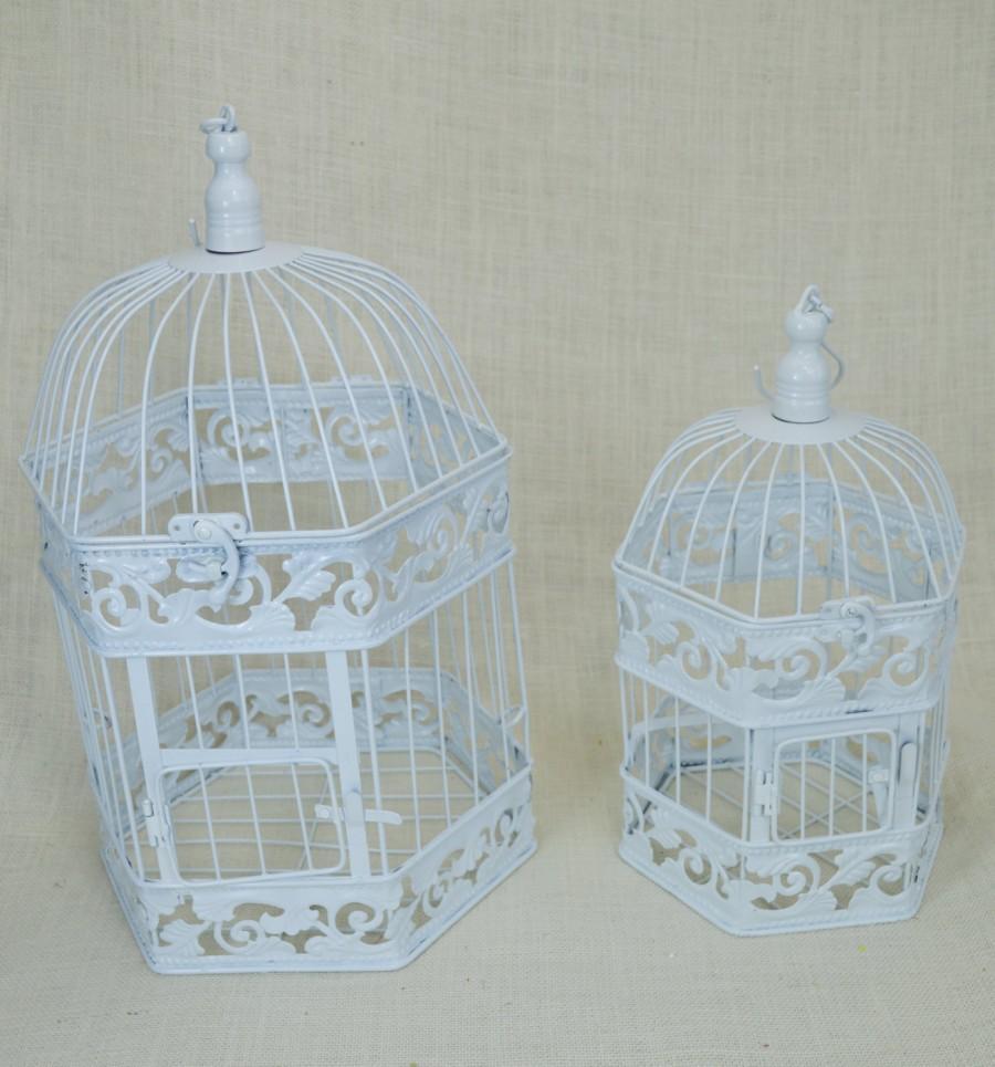 Wedding - B004 White Wedding Birdcage Centerpiece or Wishing Well , Wedding Advice Box. Wedding Decor.