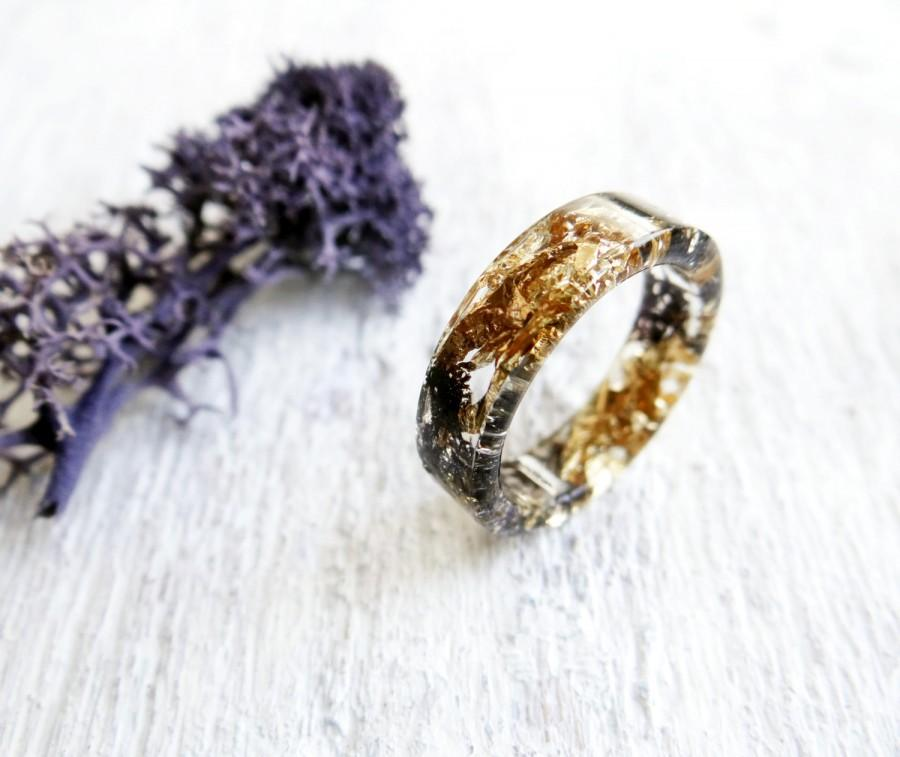 black ring gold rings for women alternative engagement ring pastel goth jewelry pagan ring dark purple moss jewelry nature jewelry terrarium - Pagan Wedding Rings