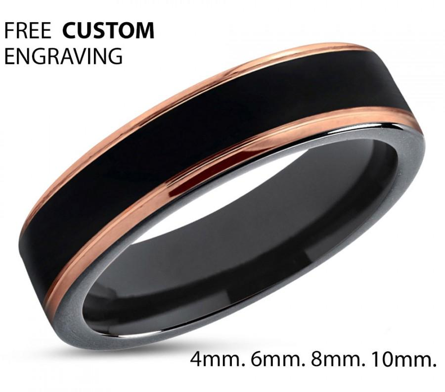 3e0cd76bb37 Black Tungsten Ring Rose Gold Wedding Band Ring Tungsten Carbide 4mm 18K  Tungsten Ring Man Wedding Band Male Women Anniversary Matching