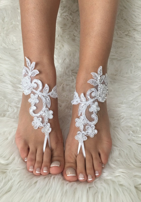 Wedding - white lace barefoot sandals, 6 Colors, FREE SHIP, beach wedding barefoot sandals, belly dance, lace shoes, bridesmaid gift, beach shoes