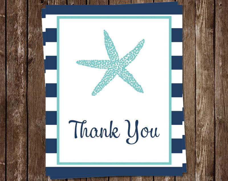 زفاف - Starfish Thank You Cards, Bridal Shower, FREE ship, Nautical Starfish Aqua and Navy, NASAN, Set of 24 cards with envelopes