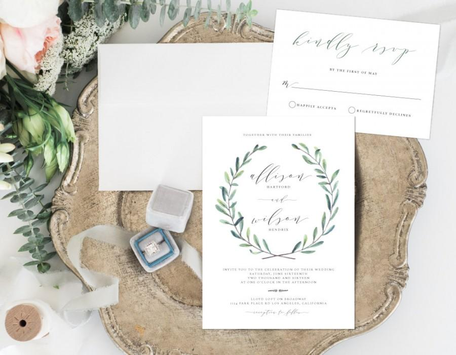 Leafy Wedding Invitation Rustic Wedding Invitation Simple Leaves