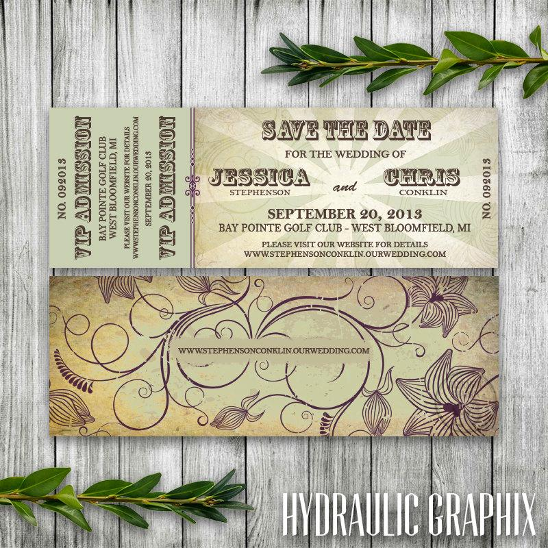 Wedding Save The Date Concert Ticket For Organic Wedding, Music ...