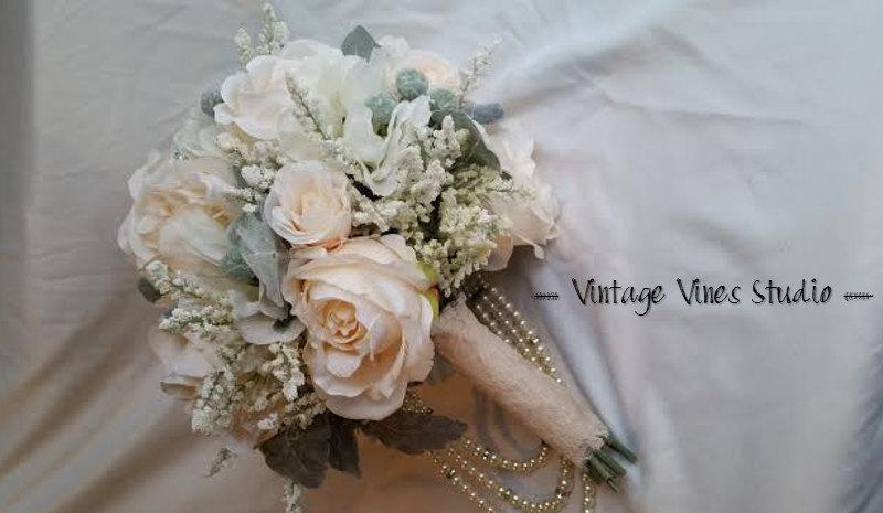 Hochzeit - Blush and Cream Silk Wedding Bouquet With Peony Rose and Tallow Berries