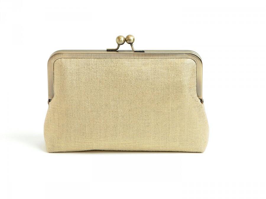 Mariage - Gold Metallic Linen purse, Linen Clutch, Bridal purse, Silk Clutch, Bridesmaid Gift, Wedding clutch, Evening Bag, Bag Noir