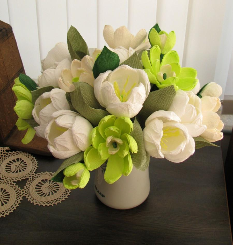 Свадьба - Paper bouquet white tulips and magnolias, Paper bridal bouquet magnolias, Tulips and magnolias bouquet, Mothers day flower, Crepe flowers