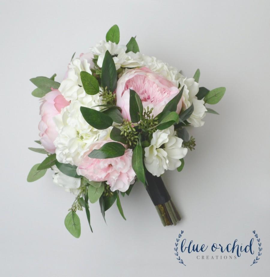 Peony bouquet silk bouquet wedding bouquet blush blush peony peony bouquet silk bouquet wedding bouquet blush blush peony bouquet garden bouquet eucalyptus anemone hydrangea wedding flowers izmirmasajfo
