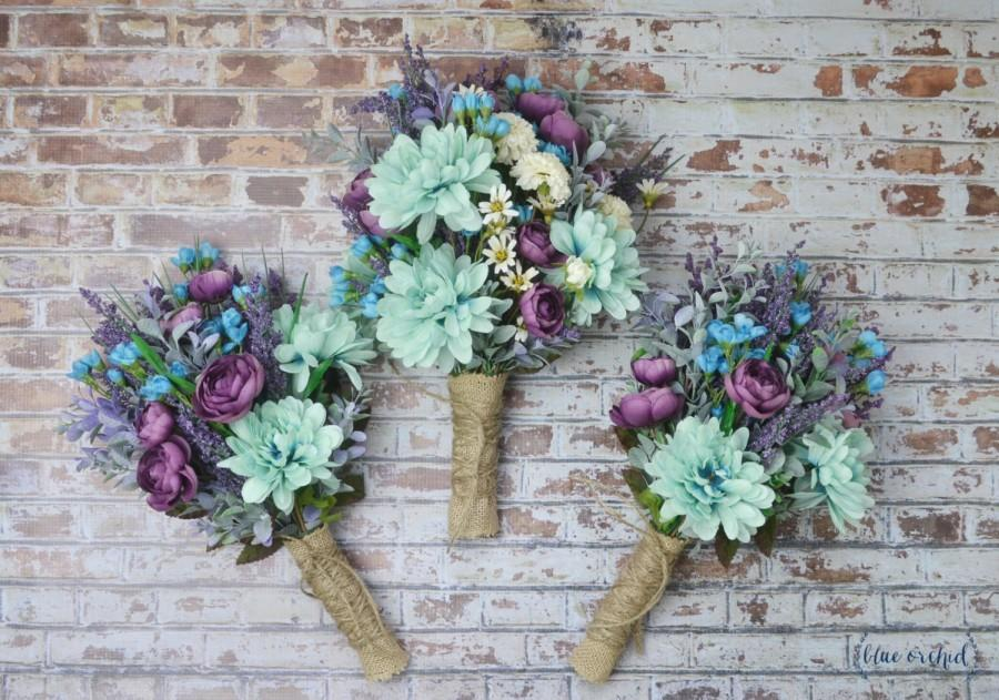 Mariage - Wildflower Bouquet, Turquoise, Teal, Purple, Boho Bouquet, Wedding Flowers, Wedding Bouquet Set, Bridal Bouquet, Bridesmaid Bouquets, Rustic