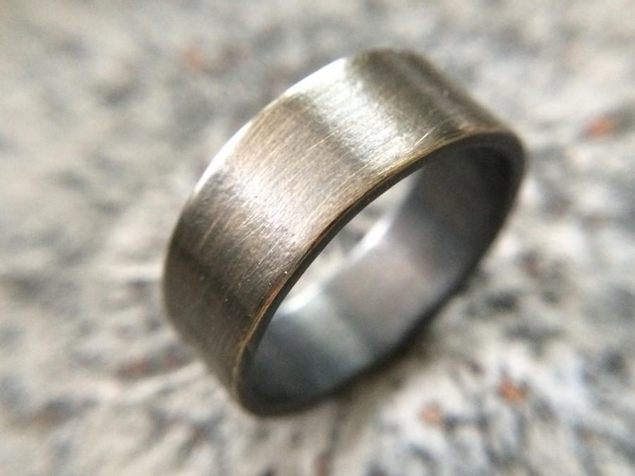 Men S Rustic 9mm Wedding Band Thick Rugged Br Ring In Oxidized Gold Gunmetal Finish Size Width Customizable