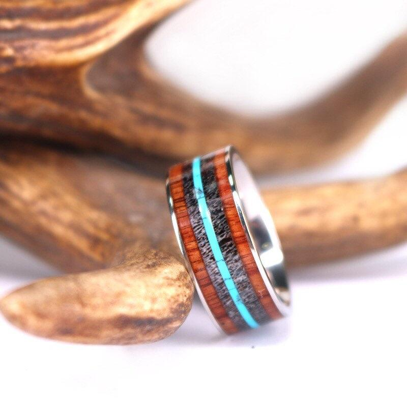Antler Turquoise And Koa Wood Titanium Mens Wedding Band 9mm Wood