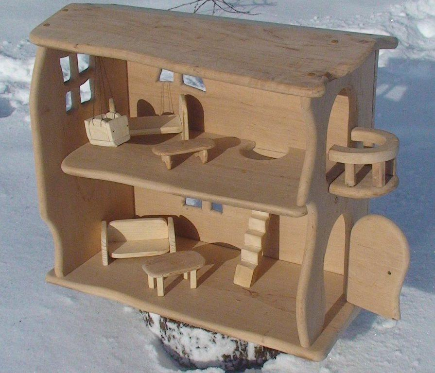 Wood Doll House Handmade Wooden Dollhouse Natural Wooden Dollhouse