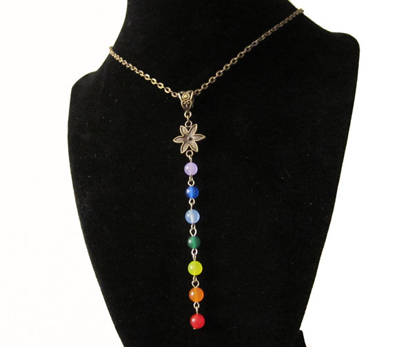 Wedding - 7 Chakra Necklace. Gemstone Pendant Bronze Chain Necklace. Chakra Gift. Yoga Gift. Love Token. Made in Canada. 7CN1