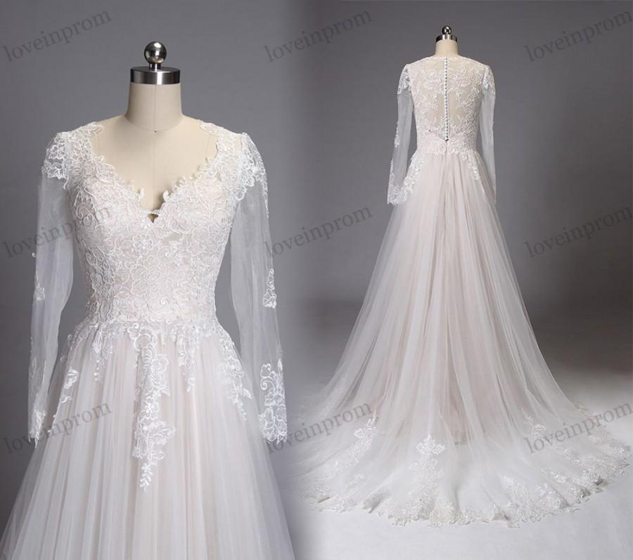Ivory Vintage Lace Wedding Dress Long Sleeves Sweep Train Lace ...