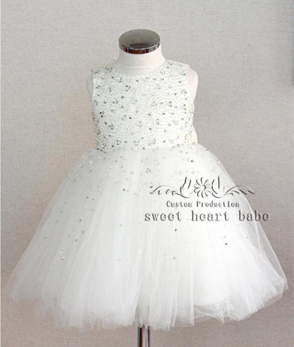 Mariage - Ivory Flower Girl Dress - flower girl dress with beading-junior bridesmaid dress- Baby Dress - tulle Flower girl Dress -birthday party dress
