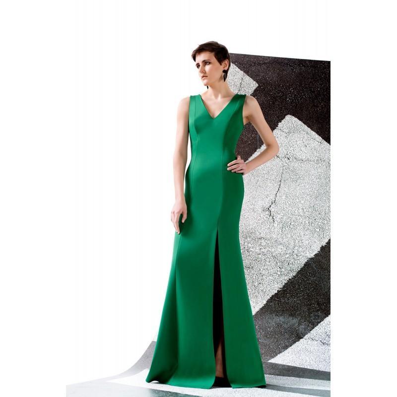 Wedding - Sheath-Column V-Neck Floor Length Gabardine and Satin Cascade Sleeveless Evening Dress Split - Top Designer Wedding Online-Shop