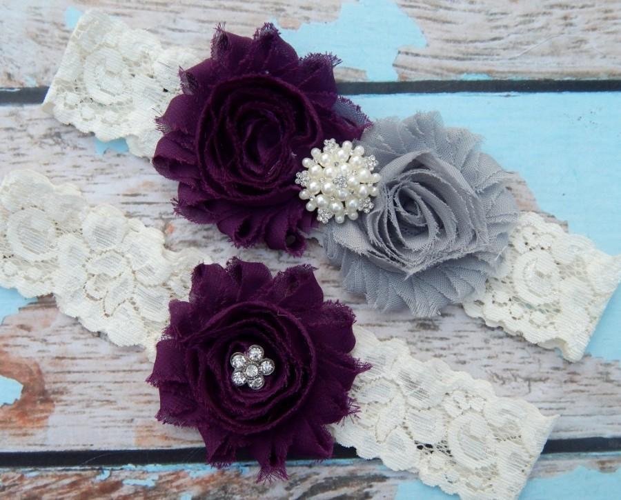 Свадьба - Gray and Plum  Garter Set , Wedding Garter , Garter Set , Garter , Toss Garter , Wedding Garter Set , Bridal Garter