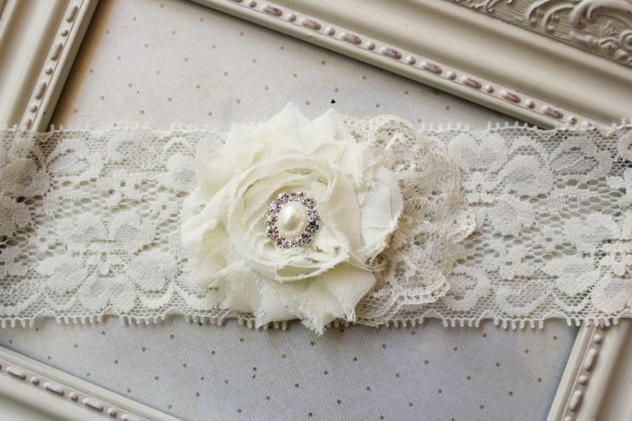 Свадьба - Ivory Chiffon Bridal Garter, wedding accessories, ivory bridal accessories, garters, ivory garters, single garter, single garters
