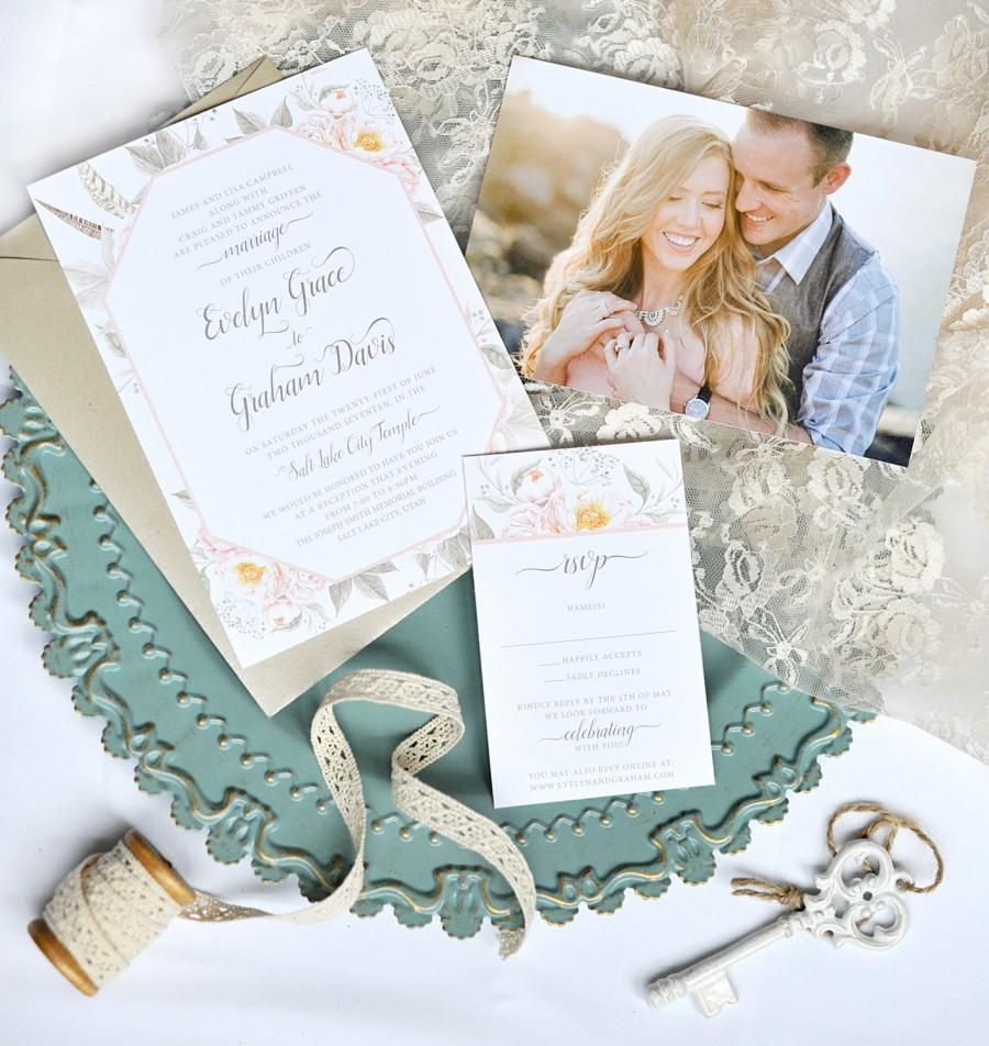 Mariage - Boho Flower Wedding Invitation - Custom Wedding Invitation Set - Rustic, Feathers, Boho, Photo Invitation, Summer, New, Unique