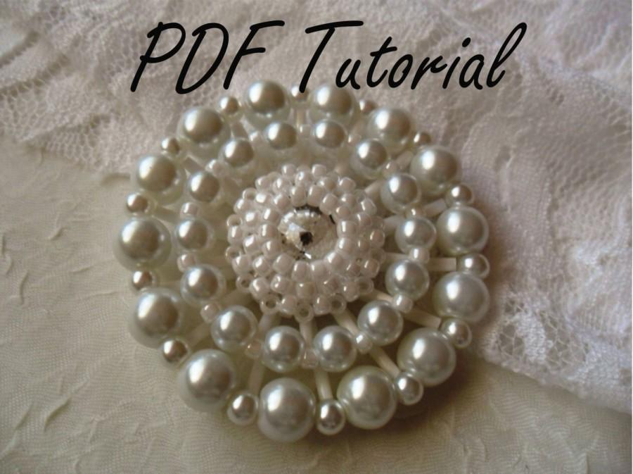 Hochzeit - MaryKate White crystal pearl bridal brooch Fabric flower brooch bouquet component PDF tutorial Wedding boutonniere hair pin belt applique