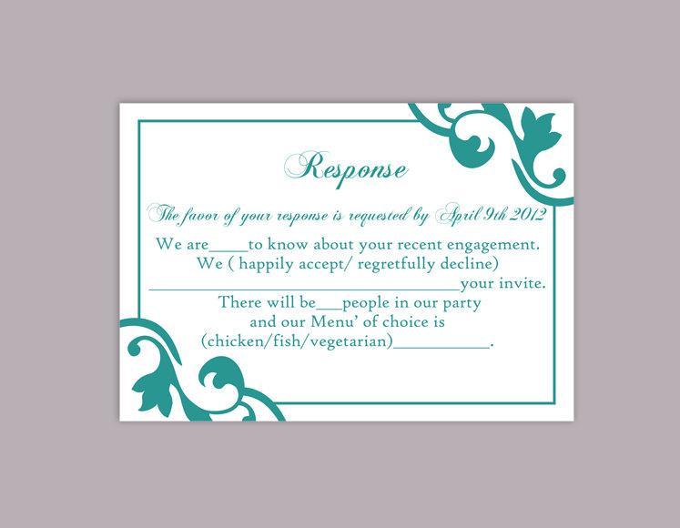 Hochzeit - DIY Wedding RSVP Template Editable Word File Instant Download Rsvp Template Printable RSVP Cards Teal Blue Rsvp Card Elegant Rsvp Card