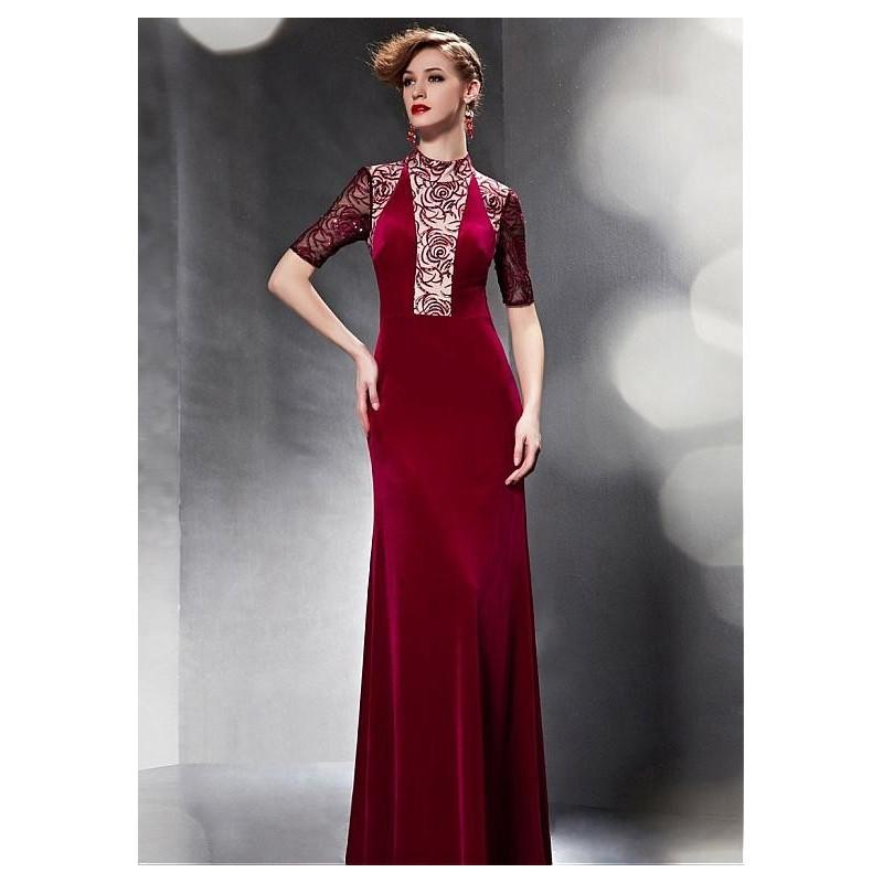 Свадьба - In Stock Junoesque South Korea Velvet & Malay Satin High Collar Neckline Full Length Sheath Formal Dress - overpinks.com