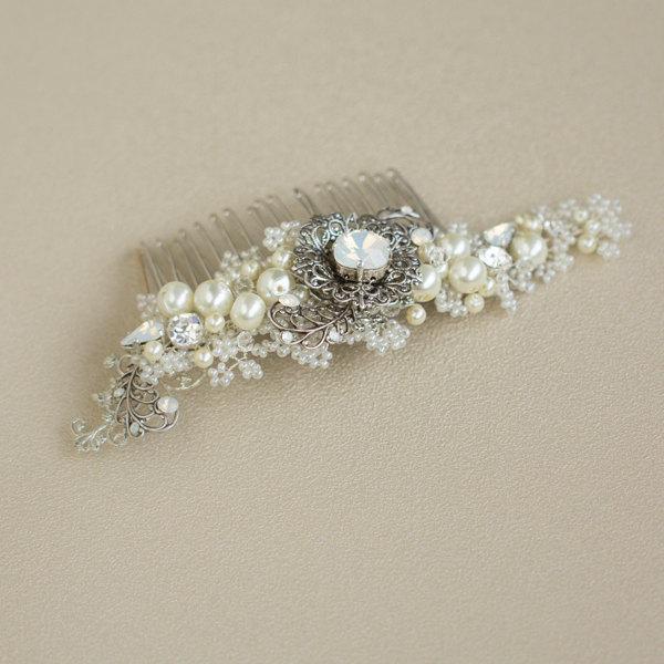 زفاف - Pearl Bridal hair comb White opal Bridal Hair piece Pearl hair piece Floral Wedding hair piece Bride hair accessory Wedding hair accessories
