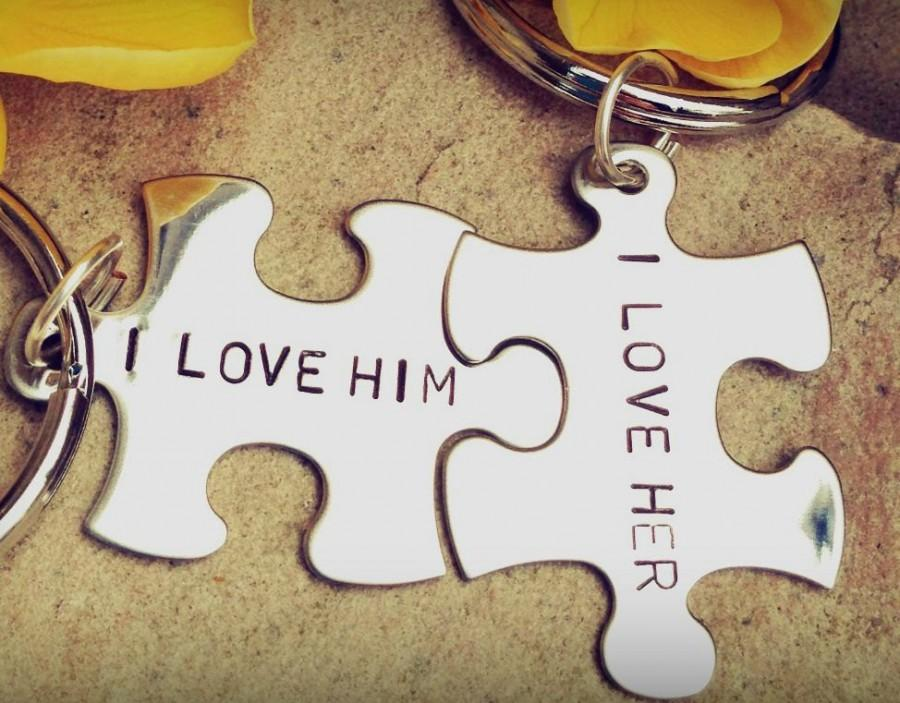 Mariage - Boyfriend Gift,personalized gift,custom key chains, Valentine's His and Hers, I lover her, I love him,  personalized key chains, puzzle key