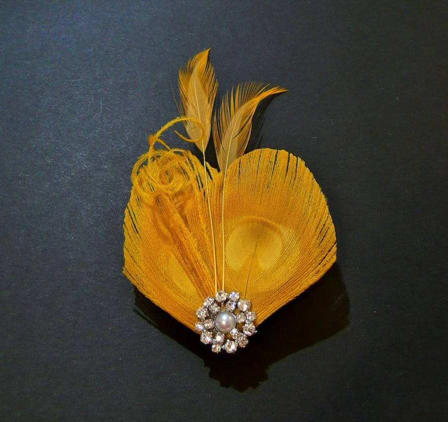 Mariage - Yellow Peacock Feather Hair Clip Fascinator Headpiece Bridesmaids Hair Accessory Wedding Crystal Diamante Pearl 'Lisette'