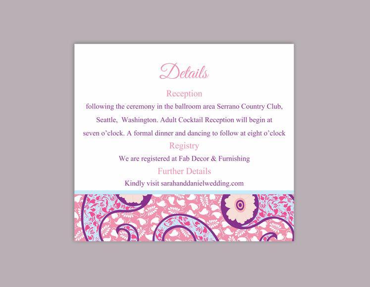 Diy Bollywood Wedding Details Card Template Editable Word File Instant Printable Pink Elegant Paisley Enclosure
