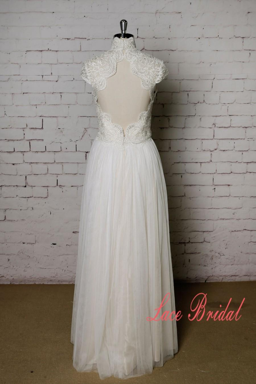 Mariage - High Collar Wedding Dress with Cap Sleeves Champagne Underlay Wedding Dress with Keyhole Back