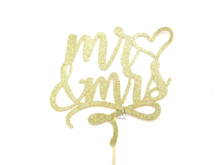 Hochzeit - Glitter MR & MRS Cake Topper - cake Bunting, wedding, engagement, birthday, baby shower, tea party