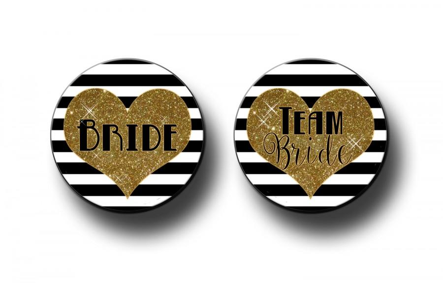 Mariage - Digital Gold Glitter and Black Stripes Team Bride Bachelorette Bridal Shower Party Favors 2.25 inch Pinback Buttons, pins, Badges