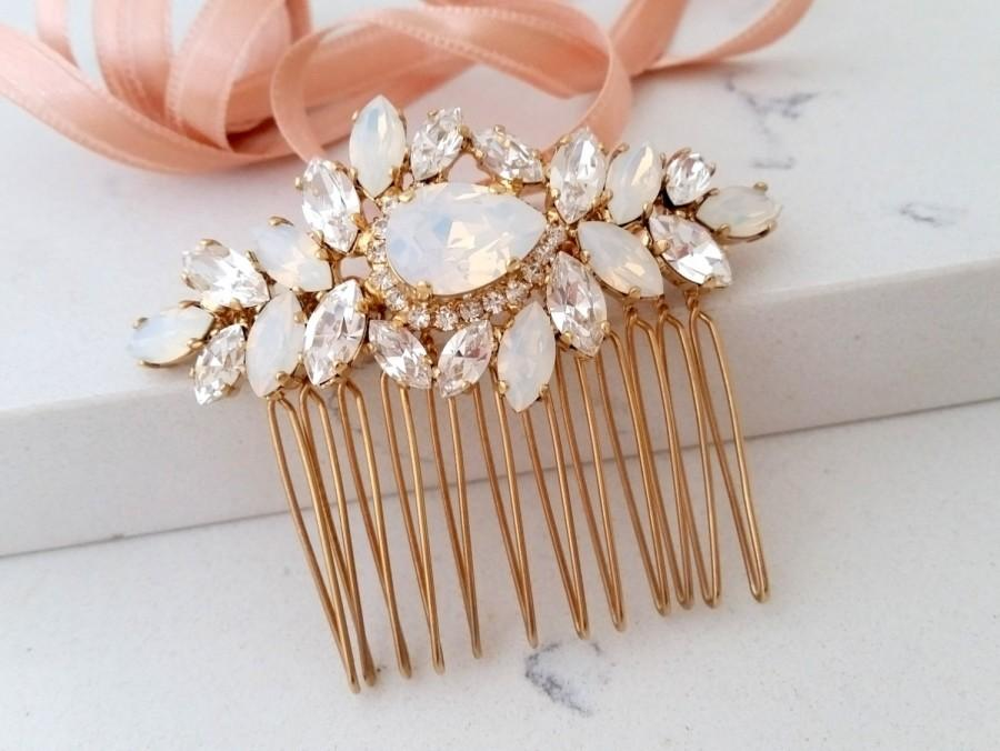 Mariage - Bridal Hair Comb,Wedding Hair Accessory,White opal Hair Comb,Wedding headpiece,Crystal hair comb,Rhinestone head piece,Gatsby Headpiece
