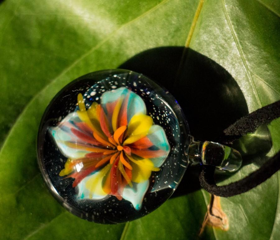 زفاف - Glass Flower Pendant - Wedding Bead - Wedding Gift - Wedding Jewelry - Flower Art - Art Glass Pendant - Art Glass Necklace - Art Jewelry