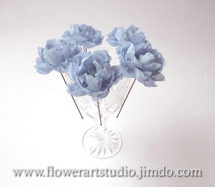 زفاف - Blue flower hair pins, Wedding flowers, Five small hair flowers, Bridal flower hair pins, Blue hair accessories, Small fabric flowers.