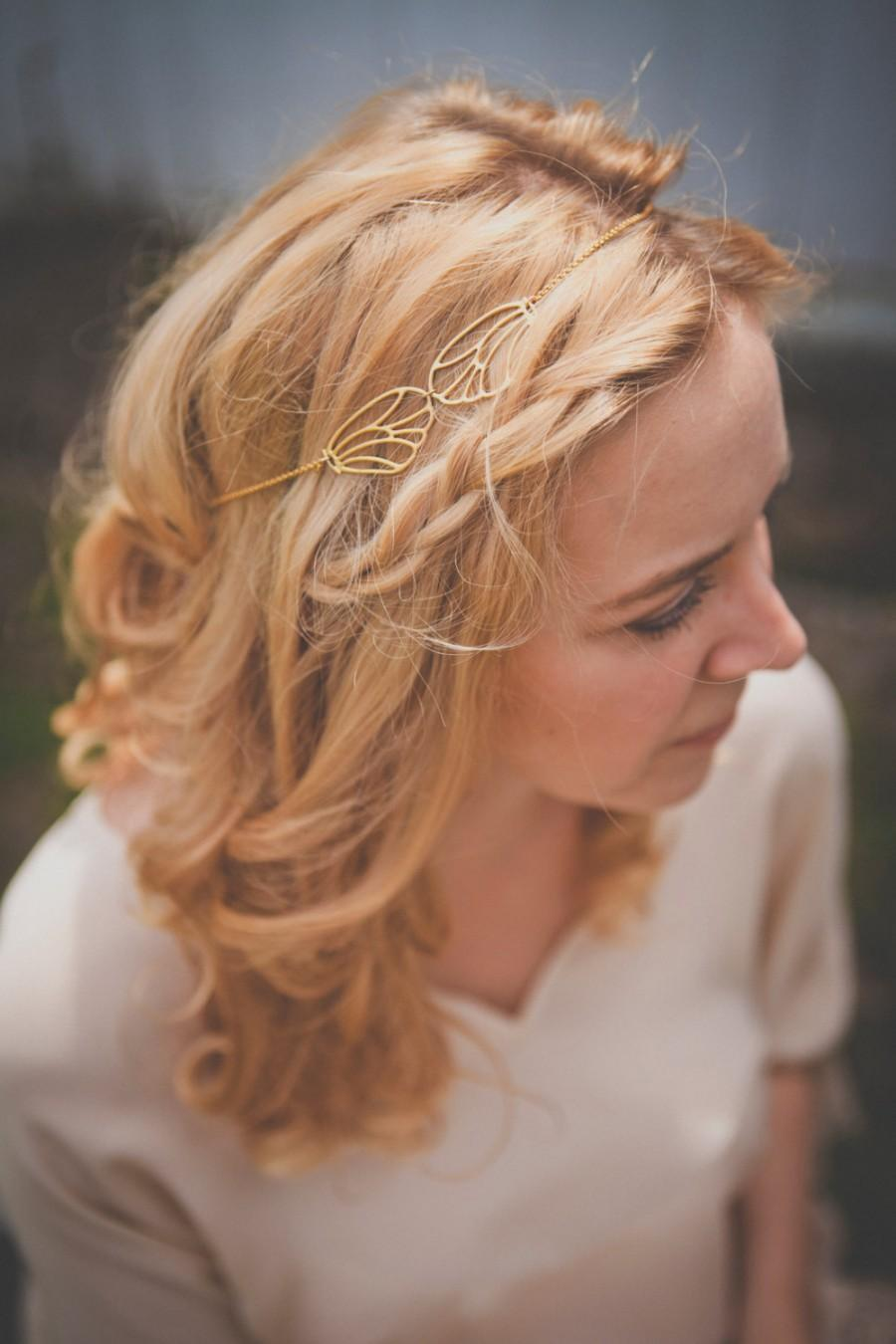 Wedding - Orphee Headpiece - Gold plated 18k hair chain- bridal headband - MADE TO MEASURE  art nouveau 20s 1920s gatsby boho downton abbey woodland
