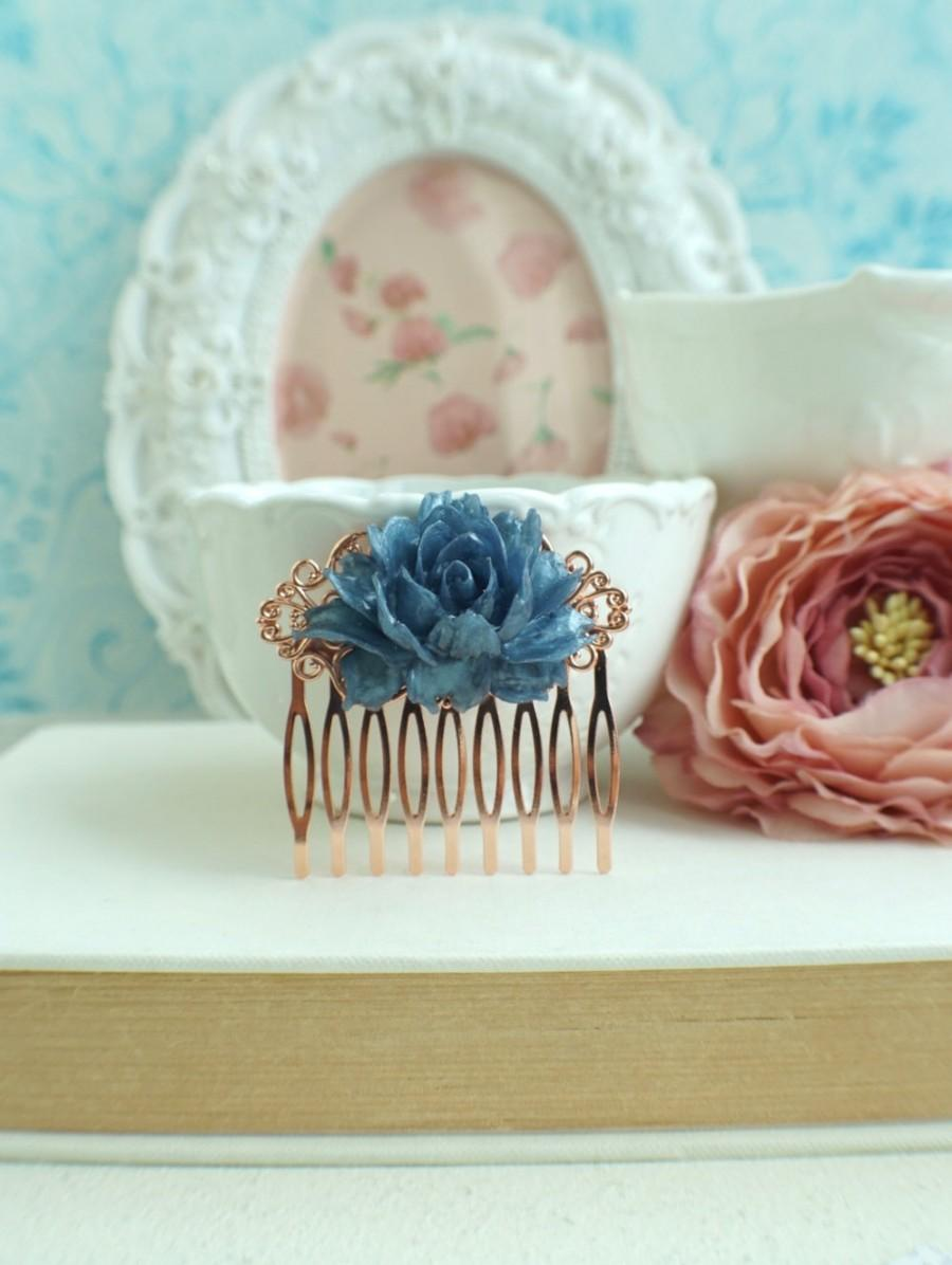 Rose Gold Comb Navy Blue Rose Gold Comb Blue Wedding Rustic Navy