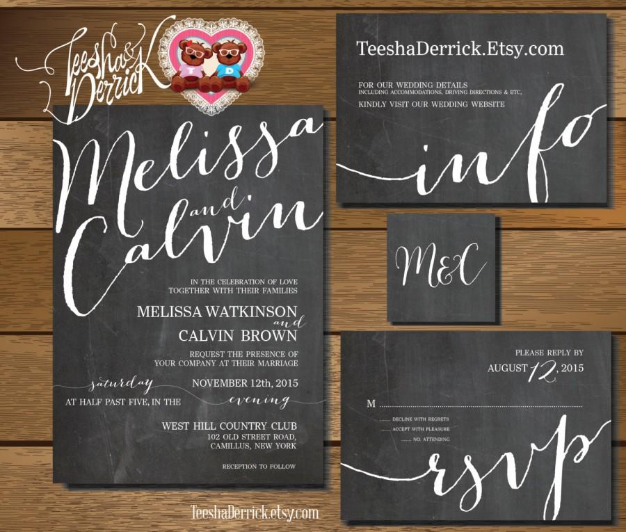 Hochzeit - Printable Wedding Invitation Suite (w0297), consists of invitation, RSVP, monogram and info card in chalkboard typography theme.