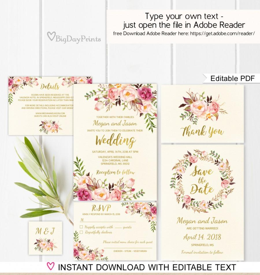 Floral Wedding Invitation Template Ivory Boho Chic Wedding Invite - Wedding invitation templates: wedding invitation suite templates