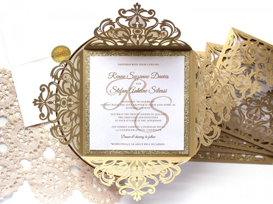 25 x gold glitter wedding invitation white and gold wedding invitations laser cut wedding invitations sku cw519 - White And Gold Wedding Invitations